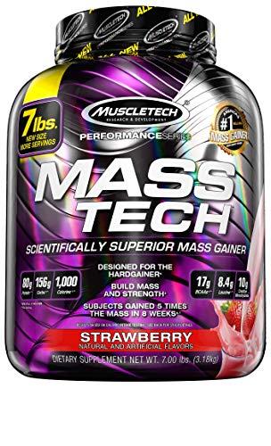 Weight Gainer Whey Protein Pulver, MuscleTech Mass-Tech Mass Gainer, Gewicht Zunehmen, Eiweißpulver für den Muskelaufbau, Creatin Monohydrat, Weight Gainer Hardgainer, Erdbeere, 3.18 kg