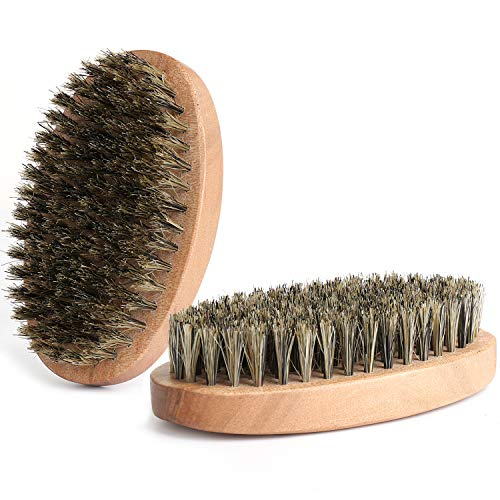 Beard Brush Natural Firm Hog Hair and Pearwood Works With All Beard Balms and Beard Oils Exfoliates Skin Helps Softening and Conditioning Itchy Beards Great for Travel