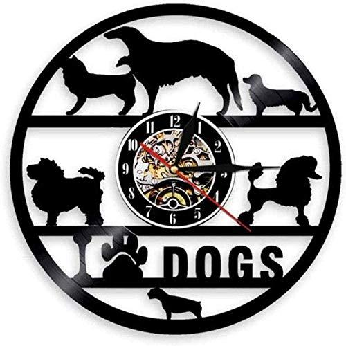 Reloj de Pared Juego de Perros Tienda de Mascotas Reloj de Pared Colgante Raza de Perro Salón de Belleza Disco de Vinilo Reloj de Pared Cachorro Amante de Las Mascotas Regalo 30 × 30Cm