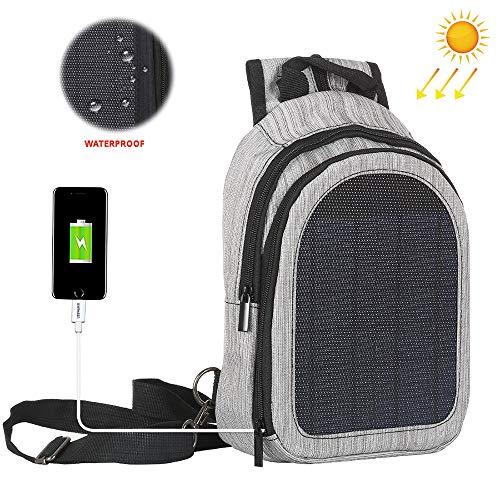 LNLN Solar-oplaadrugzak, 5W zonnepaneel, vrijetijdsreis mode paar rugzak, USB kan smartphones, tablets, smartwatches opladen B