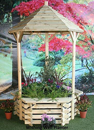 Norlog New Wooden Garden Wishing Well Planter 6ft 7' with Fabric Soil Retainer Outdoor