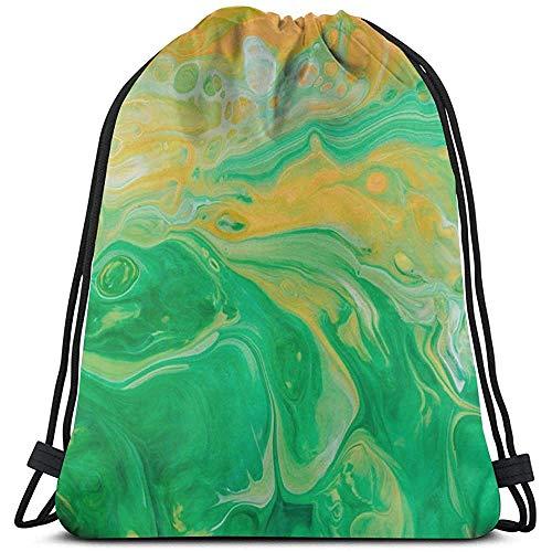 Lemotop verf vlekken groen licht behang aangepaste trekkoord Rugzak Sport Rugzakken Gym Sackpack Outdoor Reizen