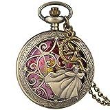 Taschenuhr Fairy Dancing Schöne Prinzessin Quarz Taschenuhr Exquisite Halskette Bronze Halskette Uhr für Mädchenmit Engel Zubehör
