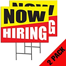 Now Hiring | 2-Pack Double Sided Outdoor Yard Signs with Metal Ground Stakes | Full Color | 24 x 18 Inches