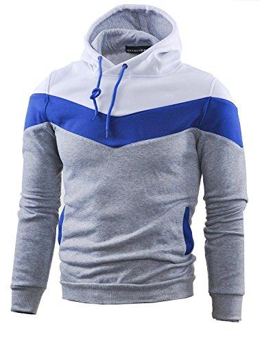 Mooncolour Mens Novelty Color Block Hoodies Cozy Sport Autumn Outwear  Light Grey  US X-Large Light Grey US X-Large
