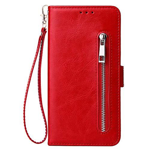 WIWJ Kompatibel mit Samsung Galaxy A50 Hülle Reißverschluss Lederhülle Wallet Handyhülle Klapphülle Ultra Slim Flip Case Stand Schutzhülle 360 Grad Bumper Tasche-Rot