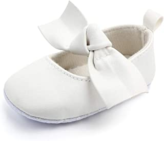 CLOUCKY Baby Girls Mary Jane Flats Dress Shoes Bowknot Infant Toddler First Walkers Soft Crib Shoes