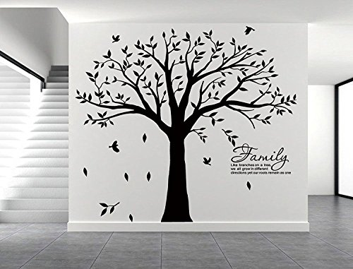 LSKOO Large Family Tree Wall Decal with Family Llike Branches on a Tree Wall Decals Wall Sticks Wall Decorations for Living Room (Black)