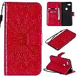 KKEIKO Hülle für Google Pixel 3A, PU Leder Brieftasche Schutzhülle Klapphülle, Sun Blumen Design Stoßfest Handyhülle für Google Pixel 3A - Rot