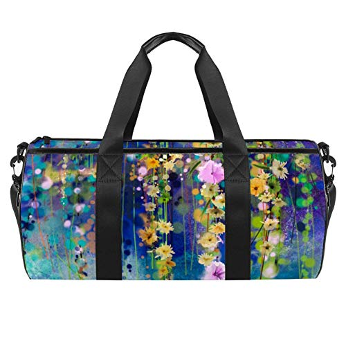 Ivy Flowers In Tree Park Painting Duffel Shoulder Carry Bag Canvas Travel Bag for Gym Sports Dance Travel Weekender
