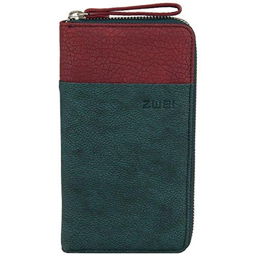 Zwei Eva EV2 Reißverschluss Geldbörse Portemonnaie Geldbeutel Brieftasche,petrol/rot
