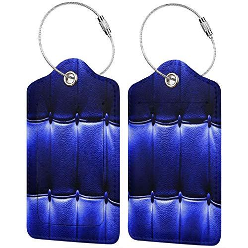 FULIYA Etiquetas para equipaje de viaje para tarjetas de visita, juego de 2, cuero, azul, manchas, fondo
