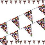DH-Konzept 3,5m Wimpelkette * FLAGGEN Welt * als Deko für Party und Geburtstag | mit 10 Wimpel | Länder Erde Fahnen WM Mottoparty Girlande Dekoration