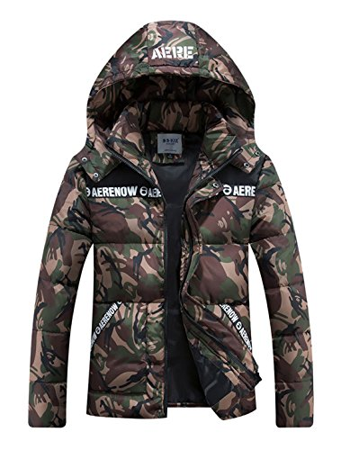 CHARTOU Men's Winter Hooded Camouflage Quilted Puffer Coat Padded Jacket Parkas Outwear (Small, Army Green)