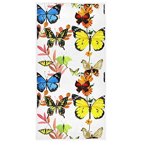 MCHIVER Handtücher für Badezimmer, Baumwolle, Aquarell, Schmetterling, Sonnenblumen, Blumen, Badetücher, Duschtücher, weich, sehr saugfähig, Handtücher für Camping, 38,1 x 76,2 cm