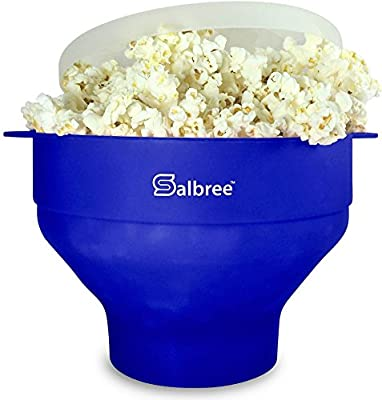 Original Salbree Microwave Popcorn Popper, Silicone Popcorn Maker, Collapsible Bowl BPA Free - 18 Colors Available (Blue)