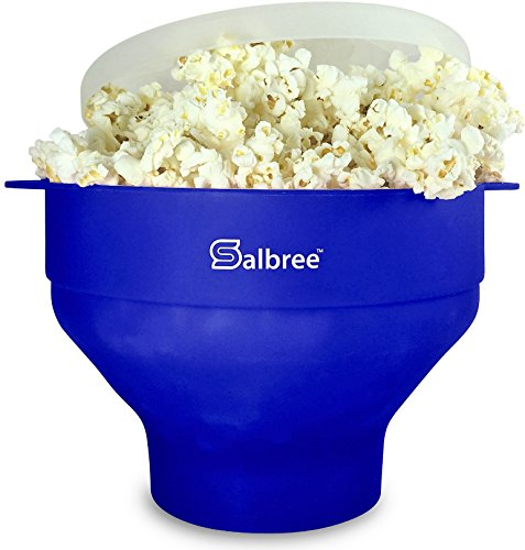 Salbree Collapsible Silicone Microwave Popcorn Popper, Blue by Salbree