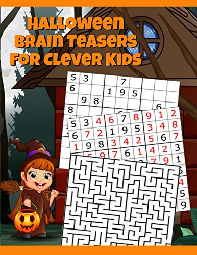 Halloween Brain Teasers For Clever Kids: Halloween Cryptogram, Word Search & Scramble, Hangman, Tic Tac Toe, Maze Puzzles, Mind & Logic Games With ... School, Home, Homeschooling) - Spooky Col