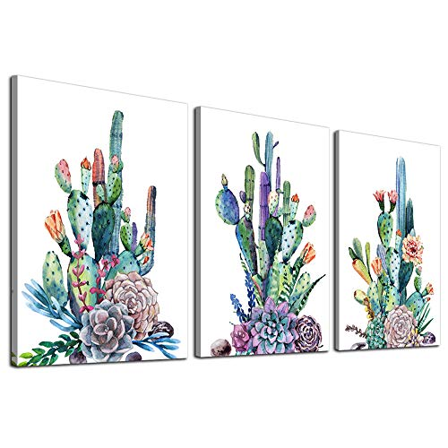 Canvas Art Simple Life Green Cactus Desert Plant Painting Wall Art Decor 12' x 16' 3 Pieces Framed Canvas Prints Watercolor Ready to Hang for Home Decoration living room bedroom bathroom Artwork