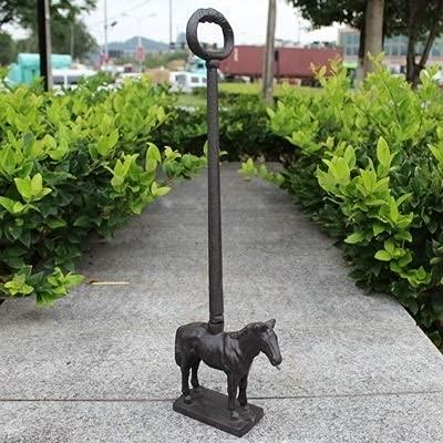 YANJ Estatua de Animal Retro rústica Vintage Figuras Antiguas Tapón de Puerta de Hierro Fundido en Bruto Hecho a Mano con Mango Largo (Color: Caballo Negro)