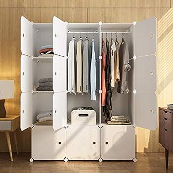 KOUSI Portable Wardrobe Closets 14 x18  Depth Cube Storage Bedroom Armoire Storage Organizer with Doors 12 Cube White