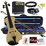 Electric Violin Bunnel NEXT Outfit 4/4 Full Size (NATURAL)-Electric Amp, Carrying Case and Accessories Included - Headphone Jack - Highest Quality with Piezo ceramic pick-up By Kennedy Violins