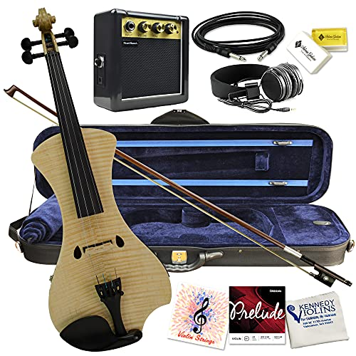 Electric Violin Bunnel NEXT (CLEAR) Outfit 4/4 Full Size (NATURAL)-Electric Amp, Carrying Case and Accessories Included - Headphone Jack - Highest Quality with Piezo ceramic pick-up By Kennedy Violins