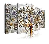 DekoArte 477 - Cuadros Modernos Impresión de Imagen Artística Digitalizada | Lienzo Decorativo para Salón o Dormitorio | Estilo Abstractos Árbol de la Vida de Gustav Klimt Plata | 5 Piezas 150x80cm