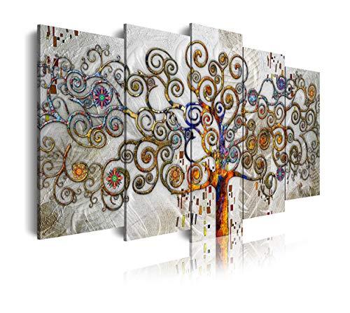 DekoArte 477 Cuadro moderno en lienzo, diseño divertido estilo arbol de la vida, multi plateados, 5 piezas (150x80x3cm)