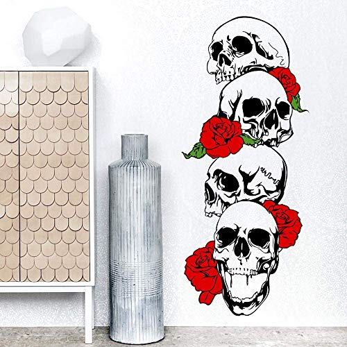 Wall Stickers Halloween Skull Skeleton Art Design Decal DIY Self-Adhesive Decoration Removable Wallpaper 3D Vinyl Sticker for Home Living Room Bedroom Bathroom Kitchen Decor Mural Quotes Fashion