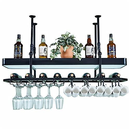 WHOJS Estante del Vidrio de Vino Altura Ajustable Soporte for Copas de Almacenamiento de 2 Capas Muebles de Bar Percha de Metal Decoración de Iluminación Tamaños Múltiples (Size:100x35cm,Color:Negro)
