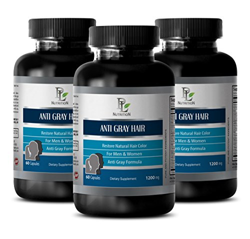 Zinc with folic Acid - Anti Gray Hair Natural Complex 1200mg - Hair Growth Vitamins for Men - 3 Bottles 180 Capsules