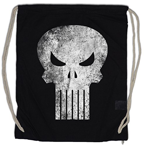 Urban Backwoods Punisher Skull Bolsa de Cuerdas con Cordón Gimnasio Insignia Logo Symbol Hero Comic TV Movie Frank Castle PC...