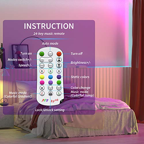 Led Strip Lights 50 Feet,TINOCOR Led Lights Strip App Control, Color Changing and Synchronization with Music,Led Lights for Bedroom,Room and Home Decoration 7