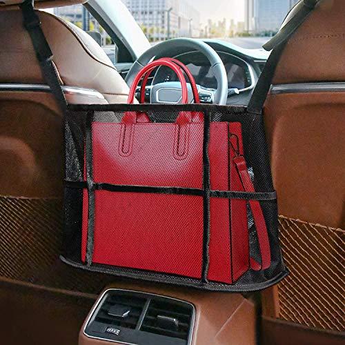 OlYone Car Net Pocket Handbag Holder Between Seats, Handbag Holder for Car Front Seat Storage and Handbag Holding Net, Car Organizer for Purse Phone Documents, Barrier of Backseat Pet Kids -Black