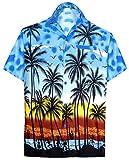 LA LEELA Men's Spread Collar Palm Tree Button Down Short Sleeve Hawaiian Shirt L Blue_W132