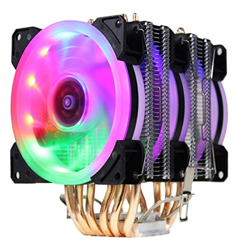 SymArt cojín de enfriamiento CPU Cooler Fan Y RGB Torre Doble Radiador 9 Cm Fin De Calor del Ventilador De Refrigeración Es Intel...
