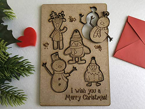Personalised Christmas Greeting Cards For Kids Laser Cut Santa Claus Figurines Wooden Xmas Hanging Ornaments Puzzle Pieces Wood Shape Custom Text Merry Christmas Happy New Year Engraved Reindeer Tag