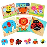 6 Piezas Puzzles de Madera de Animal Educativos para Bebé Rompecabezas de Formas Juguetes