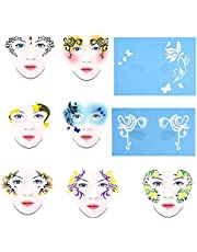 BYARSS Schmink-sjabloo,7styles/set Facial Design Tools Reusable Face Paint Stencil Body Painting Template Flower Butterfly Facial Design