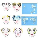 BYARSS Face Paint Stencil, Plantilla de Mariposas de Flores,7styles/Set Reusable Face Paint Stencil Body Painting Template Flower Butterfly Facial Design