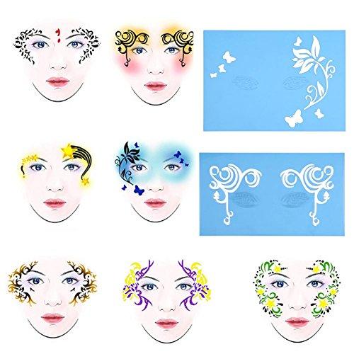 Delaman Pochoir de Peinture de Visage réutilisable Tattoo Painting modèle Body Art Fleur Maquillage Facial Outils de Conception 7style / Ensemble (Modèle : #1)