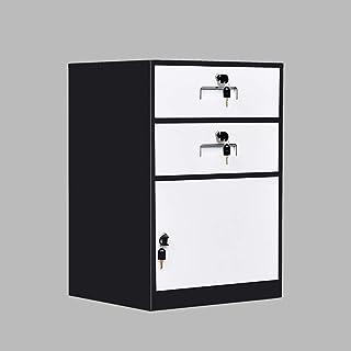 Classeurs Chevet 2 tiroirs 1 Porte avec Serrure désassemblage de Remplissage en métal Table de Chevet Bureau des Documents...