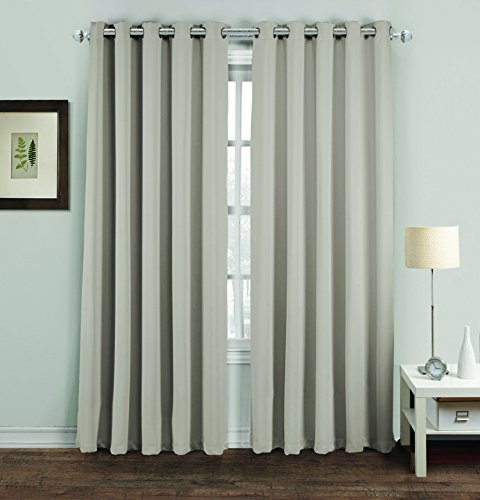 Hachette Thermal Blackout Curtains Eyelet Ring Top Including Pair of Tiebacks (Silver Grey, 46' x 54')