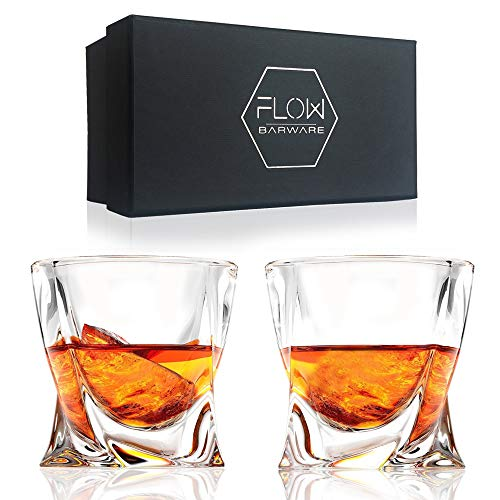 FLOW Twist whiskey glasses set of 2, whisky glass gift set with twisted design Perfect whiskey tumblers for Scotch, Bourbon Gin & Tonic