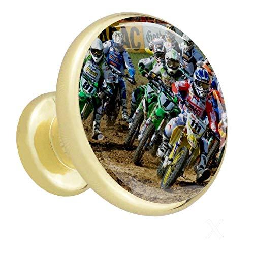 Tirador de puerta Rally de motos de campo juego de pomos de vidrio transparente con tornillos accesorios para gabinetes cajones y armarios decoración de muebles 4 piezas 3.2×3.0cm