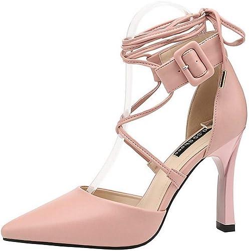 LINANNAV zapatos de tacón Alto para mujer, con Correa Cruzada, zapatos de tacón de Aguja