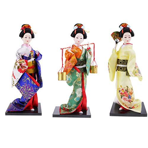 perfeclan 3X Exquisita Muñeca Kimono Japonés Kabuki Estatua Geisha Estatuilla