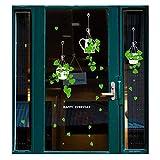 Cesto colgante con plantas verdes en maceta, adhesivos de pared, removibles, autoadhesivos, para decoración de pared o sala de estar, dormitorio, café, tienda de cristal