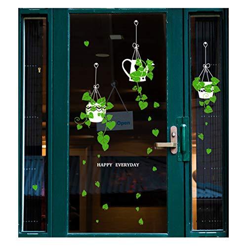 Decalcomanie da parete con piante verdi in vaso, adesivi da parete verdi, rimovibili fai da te autoadesive da parete o soggiorno, camera da letto, caffè, decorazione per porta in vetro